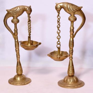 Brass Antique Parrot Diya Stand