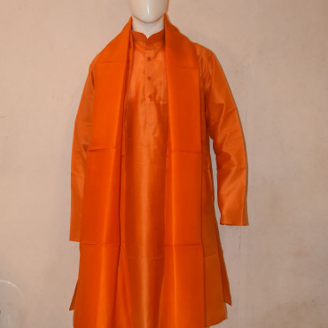 Orange silk kurta dupatta with cotton pyjama