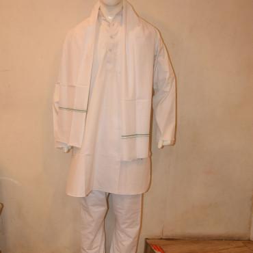 Cotton Kurta pyjama dupatta White