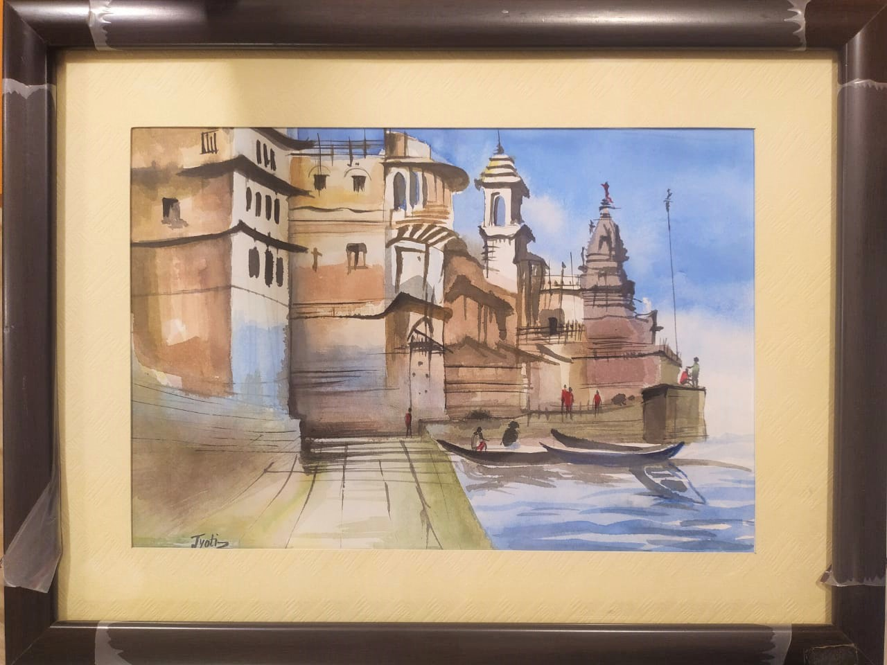 Banaras Ghat Water Colour Painting