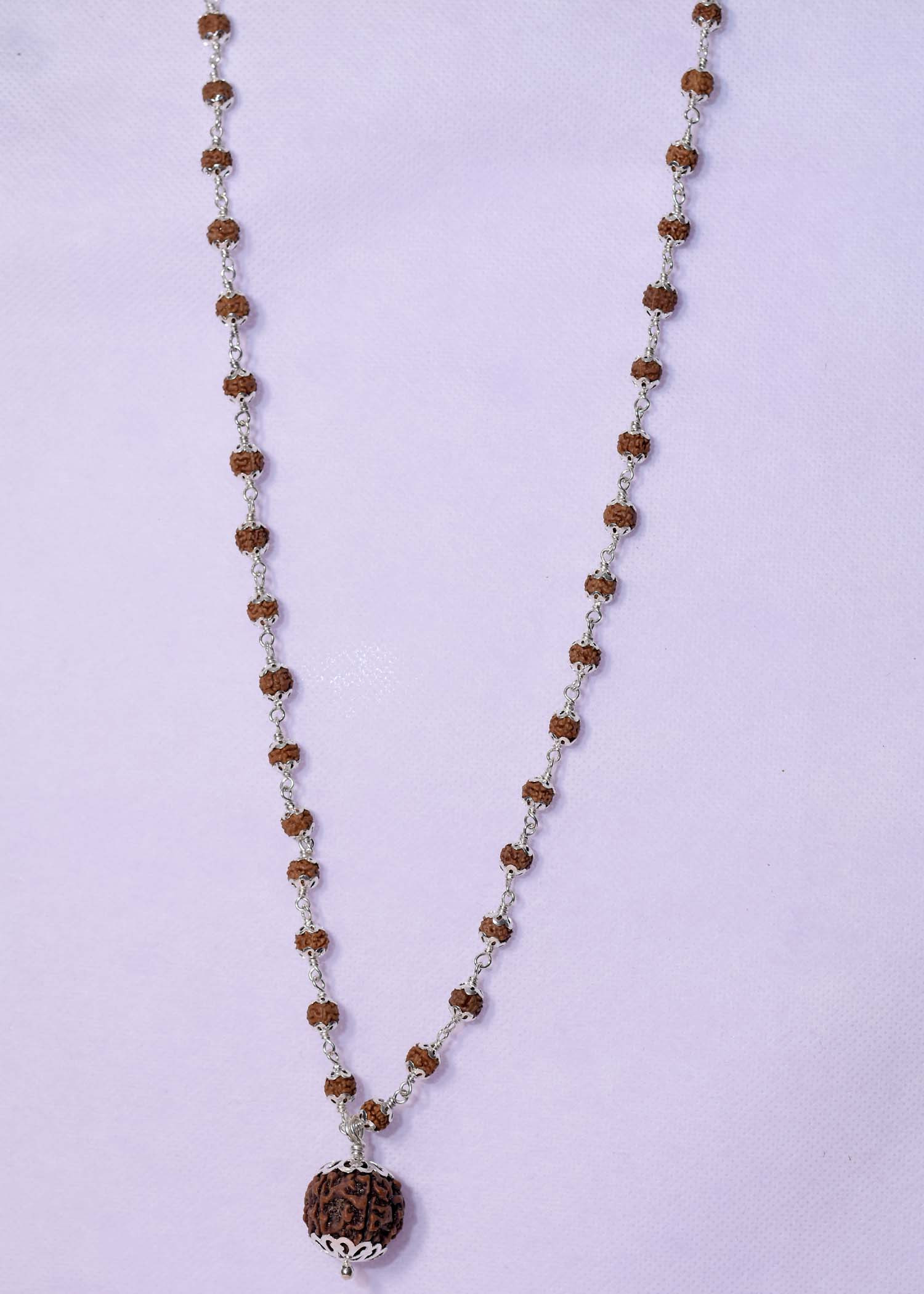 Silver Rudraksh Mala With 7 Mukhi Pendent