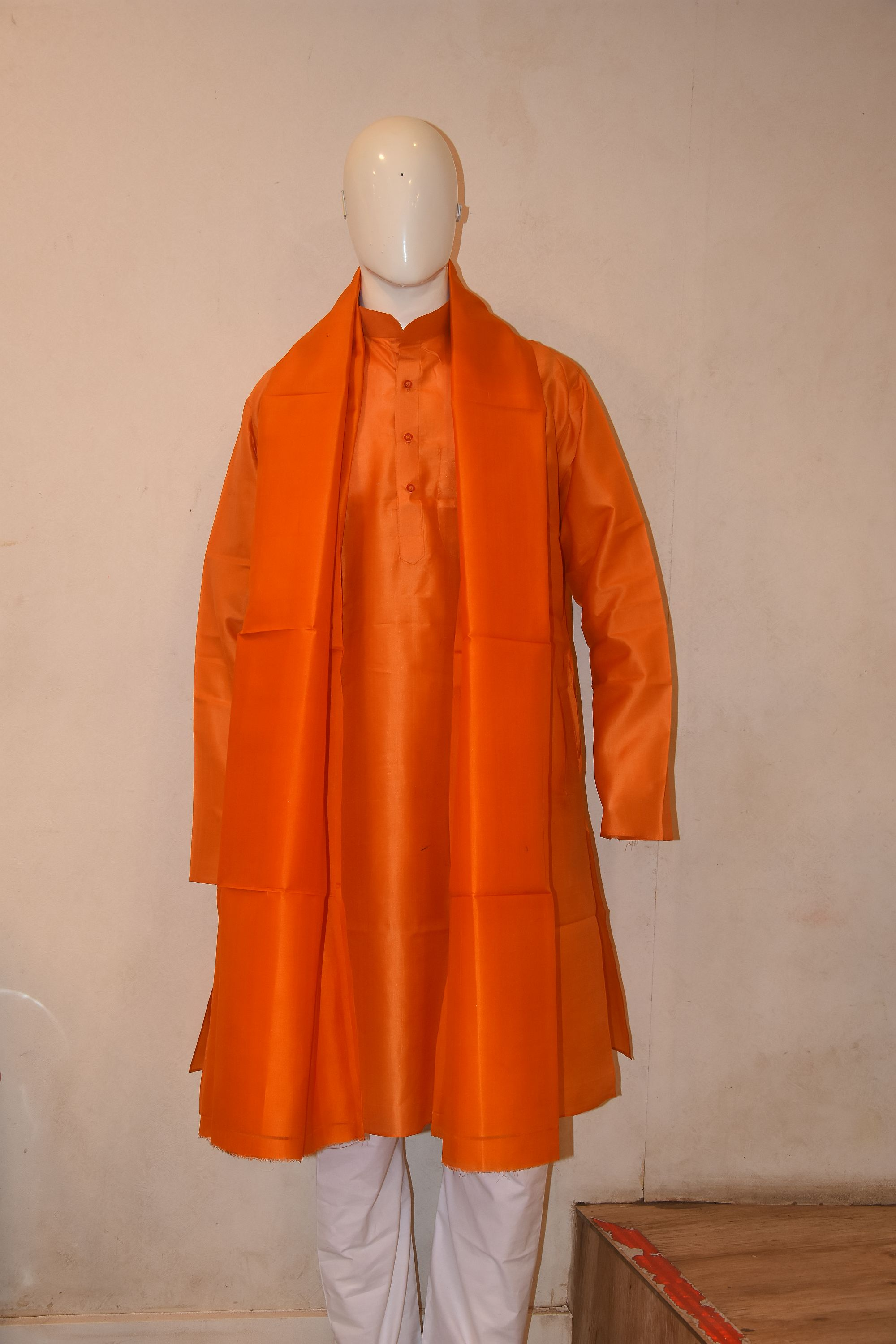 Orange silk kurta dupatta with cotton pyjama
