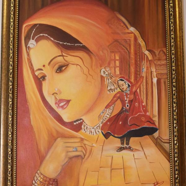 Rajasthani Painting Oil on Canvas
