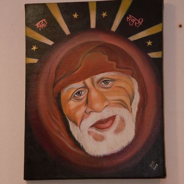 Sai Baba Arcylic and Oil on Canvas