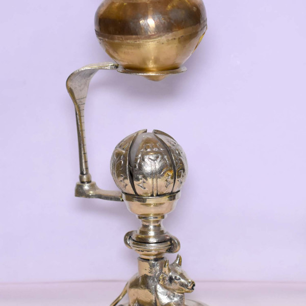 Brass Shivling With Lotus Stand Small