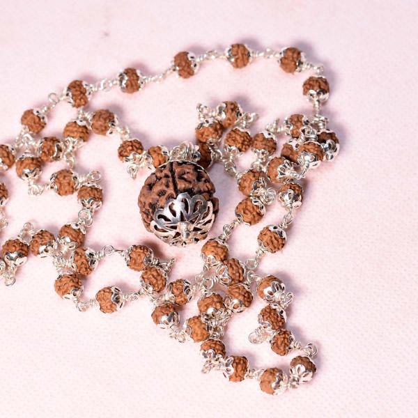 silver covered rudraksha with 6 mukhi pendant