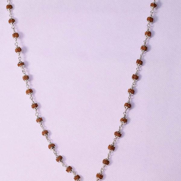silver covered rudraksha with 4 mukhi pendant
