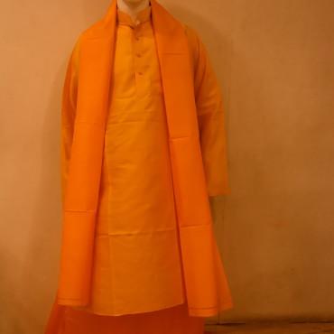 Silk Dhoti Kurta Dupatta Orange