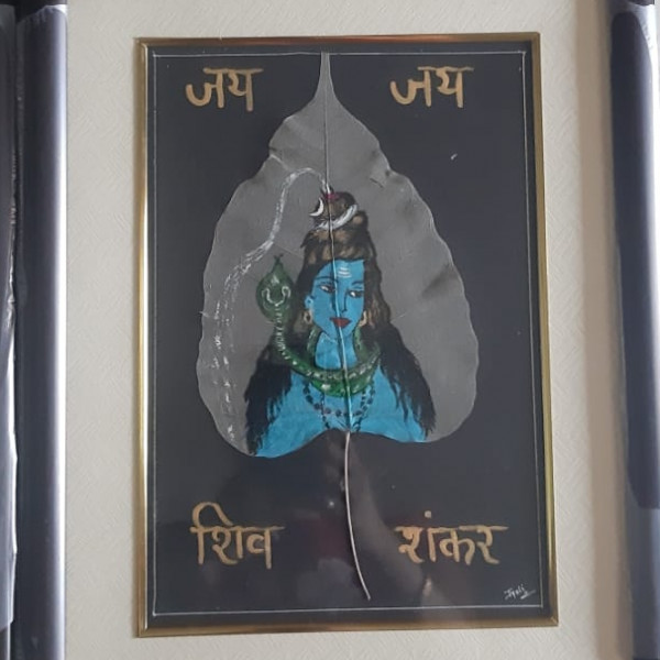 Shiv Shankar Painted on Peepal Leaf