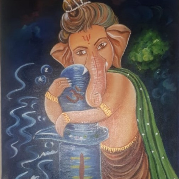 Delight Ganeshji with Shivling Painting